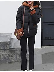 Dámské S vycpávkou Jednoduchý Bavlna Jednobarevné-Kabát Polyester Dlouhý rukáv