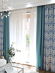 cheap -Grommet Top Double Pleat Pencil Pleat Curtain Contemporary Casual Stripe Living Room Polyester Material Curtains Drapes Home Decoration