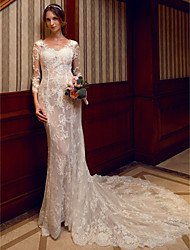 cheap -Mermaid / Trumpet V Neck Chapel Train Sheer Lace Made-To-Measure Wedding Dresses with Appliques / Lace by LAN TING BRIDE® / Illusion Sleeve / Open Back / See-Through