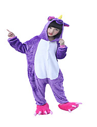 Kigurumi Pajamas Horse Unicorn Onesie Pajamas Costume Flannel Toison Purple Cosplay For Kid Animal Sleepwear Cartoon Halloween Festival /