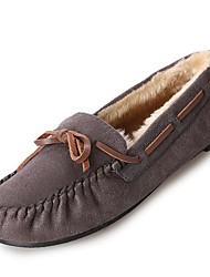 cheap -Women's Shoes PU(Polyurethane) Winter Comfort / Fur Lining Boat Shoes Flat Heel Round Toe Gray / Brown / Blue