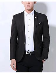 Pánské Jednobarevné Běžné/Denní Jednoduchý Blejzr-Podzim Polyester Košilový límec Dlouhý rukáv Standardní