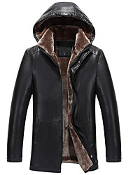 Men's Casual/Daily Simple Fall Winter Leather Jackets,Solid Hooded Long Sleeves Regular Lambskin