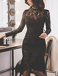 Недорогие -Для женщин Для вечеринок На каждый день Облегающий силуэт Оболочка Платье Однотонный,Хомут До колена Длинные рукава Шелковая ткань Весна