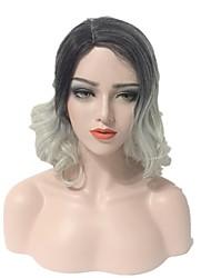 abordables -Mujer Pelucas sintéticas Corto Rizado Ondulado Grande Gris Pelo Ombre Pelo reflectante/balayage Raíces oscuras Parte lateral Corte Bob