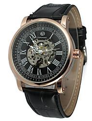 preiswerte -FORSINING Herrn Armbanduhren für den Alltag Modeuhr Armbanduhr Automatikaufzug Leder Band Freizeit Cool