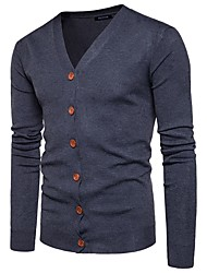 cheap -Men's Active Long Sleeves Cardigan - Solid Colored V Neck