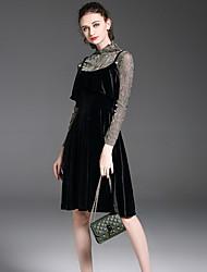 Tee-shirt Robes Costumes Femme,Couleur Pleine Décontracté / Quotidien simple Automne Manches longues Col Ras du Cou Polyester