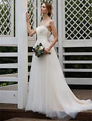 abordables -Corte en A Princesa Escote de ilusión Larga Raso Tul Vestido de novia con Apliques Lazo(s) Fajas por LAN TING BRIDE®
