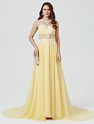 Corte en A Princesa Joya Larga Raso Evento Formal Vestido con Cuentas Apliques Frontal Abierto por TS Couture®