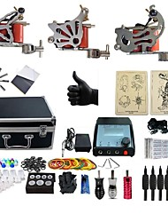 cheap -Tattoo Machine Professional Tattoo Kit 3 steel machine liner & shader High Quality 2 x aluminum grip 4 x disposable grip 50 Classic Daily