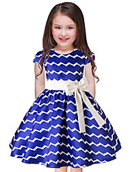cheap -Girl's Holiday Going out Striped Dress,Polyester Short Sleeves Cute Princess Blue White Red