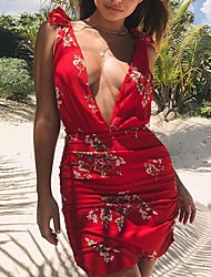 cheap -Women's Holiday / Going out Bodycon Dress - Floral / Vintage Backless / Ruffle High Waist Mini Deep V / Summer / Fall
