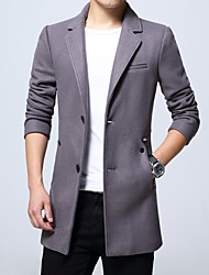 Men's Daily Simple Casual Winter Coat,Solid V Neck Long Sleeve Short Nylon