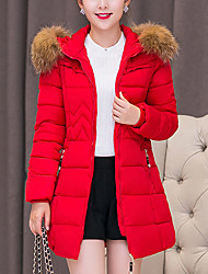 cheap -Women's Long Padded Coat,Vintage Cute Casual Daily Going out Plus Size Solid-Cotton Polyester Cotton Polypropylene Long Sleeves