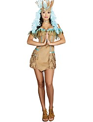 cheap -American Indian Cosplay Costume Women's Halloween Carnival Oktoberfest Festival / Holiday Halloween Costumes Yellow Solid Vintage