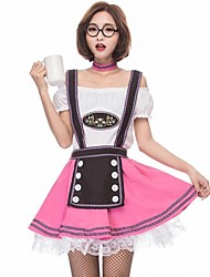 cheap -Maid Costume Oktoberfest Cosplay Costume Women's Halloween Carnival Oktoberfest Festival / Holiday Halloween Costumes White Color Block