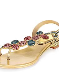 abordables -Mujer Zapatos Poliuretano Primavera / Verano Botas de Moda Sandalias Puntera abierta Pedrería / Cristal / Purpurina Dorado / Hebilla