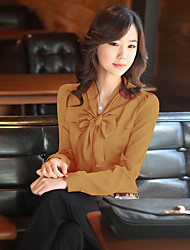 Women's Work Sophisticated All Seasons Shirt,Solid V Neck Long Sleeves Others Thin