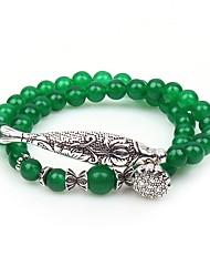 baratos -Mulheres Verde Jade Pulseiras Strand / Enrole Pulseiras - Gema Animal Étnico Pulseiras Verde Para Festa / Diário