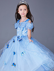 cheap -Princess / Cinderella / Fairytale Cosplay Costume / Party Costume Christmas / Halloween / Carnival Festival / Holiday Halloween Costumes LightBlue / Yellow / Pink Print / Chiffon