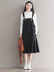 abordables -Ample Tunique Robe Femme Sortie Couleur Pleine A Bretelles Mi-long Sans Manches Coton Taille Normale Non Elastique Moyen