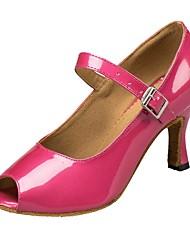 cheap -Women's Latin Shoes Leatherette Sandal Customized Heel Dance Shoes Fuchsia / Indoor