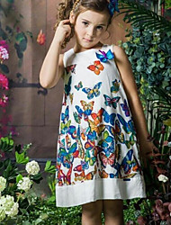 cheap -Girl's Birthday Holiday Butterfly Flower/Floral printing Dress,Cotton Polyester Sleeveless Cute Princess White