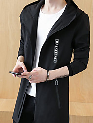 Men's Sports & Outdoor Going out Simple Casual Fall Trench coat,Solid Hooded Long Sleeves Long Polyester