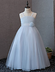 cheap -A-Line Floor Length Flower Girl Dress - Satin Tulle Sleeveless Straps with Bow(s) Flower(s) by LAN TING BRIDE®