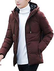 Men's Regular Padded Coat,Casual Daily Going out Solid-Cotton Acrylic Polyester Long Sleeves