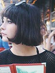 economico -Donna Parrucche senza cappuccio per capelli umani Nero Media Auburn Medio Kinky liscia