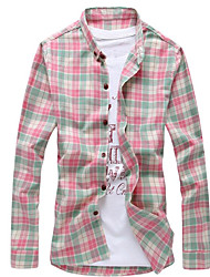 メンズ カジュアル/普段着 シャツ,ストリートファッション シャツカラー カラーブロック コットン 長袖
