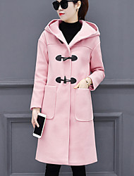Women's Casual/Daily Simple Fall Winter CoatSolid Hooded Long Sleeves Long Wool Polyester