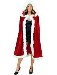 economico -Vacanza Babbo Natale Mrs.Claus Mantello Donna Natale Feste / vacanze Costumi Halloween Rosso Tinta unita