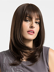 cheap -Synthetic Hair Wigs kinky straight Layered Haircut Capless Natural Wigs Long Brown