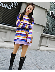 Standard Pullover Da donna-Per uscire Casual A strisce Monocolore Rotonda Manica lunga Lana d'angora Inverno Primavera/Autunno Medio