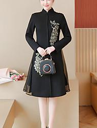 Trapèze Gaine Robe Femme Soirée Travail Rétro Chinoiserie,Broderie Col Mandarin Mi-long Manches longues Autres Automne Hiver Taille
