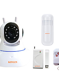 KONLEN® IP504 WIFI Burglar Alarm Systems Security Home Wireless CCTV Video IP Camera with Built in Siren PIR Detector Door Open Sensor Android