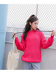 Women's Going out Casual/Daily Short Pullover,Solid Hooded Long Sleeves Cotton Autumn Winter Medium Micro-elastic
