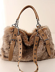 cheap -Women Bags Fur Tote Feathers / Fur for Casual All Season Brown