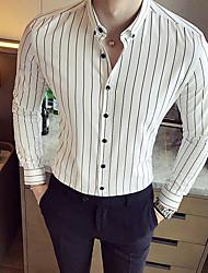 Masculino Camisa Social Casual Moda de Rua Listrado Algodão Colarinho de Camisa Manga Longa