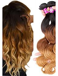 baratos -Cabelo Brasileiro Onda de Corpo Cabelo Remy Âmbar 3 pacotes 12-22 polegada Tramas de cabelo humano Preto / Medium Brown / louro da morango Extensões de cabelo humano