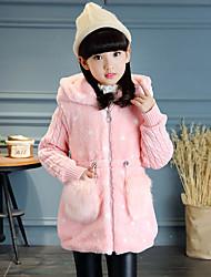 preiswerte -Mädchen Jacke & Mantel Einfarbig Kaninchen-Pelz Baumwolle Acryl Langarm Freizeit Weiß Rote Rosa Khaki