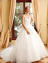 cheap -Ball Gown Spaghetti Strap Chapel Train Tulle Over Lace Made-To-Measure Wedding Dresses with Appliques / Lace by LAN TING BRIDE® / Yes