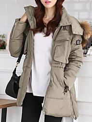 cheap -Women's Long Down Coat,Vintage Solid-Wool Polyester White Duck Down Long Sleeves Hooded