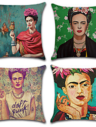 cheap -Set Of 4 Frida Kahlo Portrait Printing Pillow Cover Creative Classic Pillow Case 45*45Cm