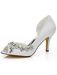 Недорогие -Для женщин Обувь Шёлк Весна Лето Туфли лодочки Свадебная обувь На шпильке Открытый мыс Круглый носок Стразы для Свадьба Для вечеринки /