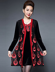 Tee-shirt Robes Costumes Femme,Fleur Sortie Rétro Automne