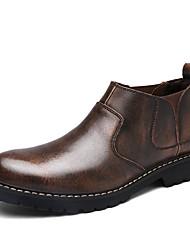 baratos -Homens sapatos Courino Couro Inverno Primavera Conforto Botas para Casual Cinzento Castanho Escuro